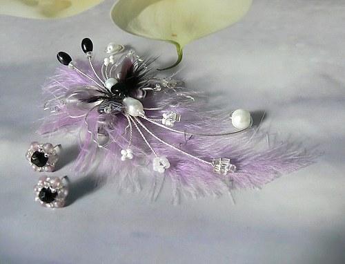 Motýlí extravagance - ozdoba do vlasů a náušnice