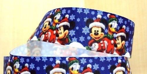 Stuha rypsová š.25 mm: Mickey v zimě
