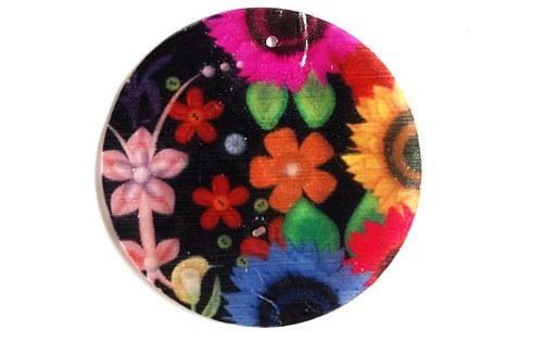 307 perleťové placky tenké - barevné květy