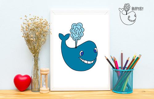 Velryba v barvě (bez stínů)