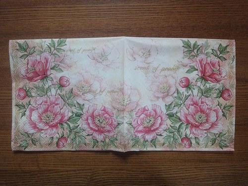 Ubrousek na decoupage - růžové květy