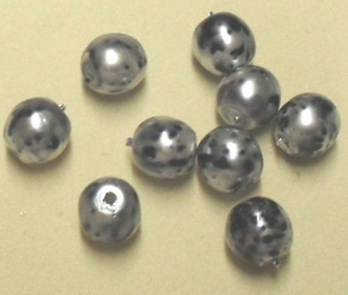 korálky černo-bílé kropenky 7mm 50ks