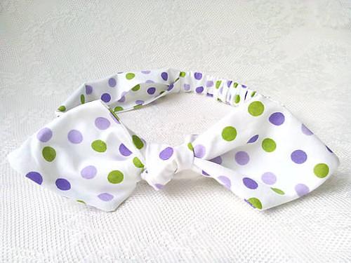 Pin Up headband on elastic (white/green&violet)