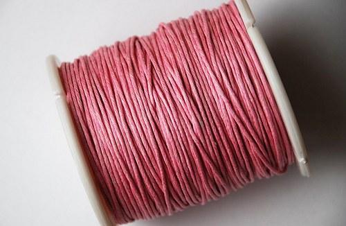 voskovaná šňůrka 10m- růžová