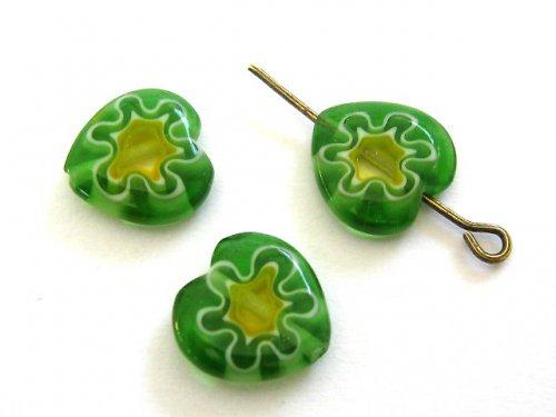 1101402/Millefiori srdce zeleno/žluté, 1 ks