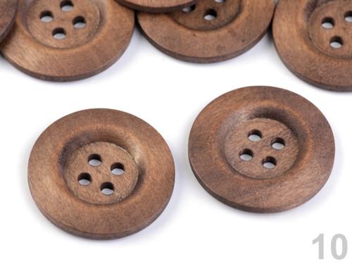 Dřevěný dekorační knoflík 4cm (2ks) - hnědá
