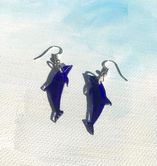 Plexisklo - visací naušnice - delfínci