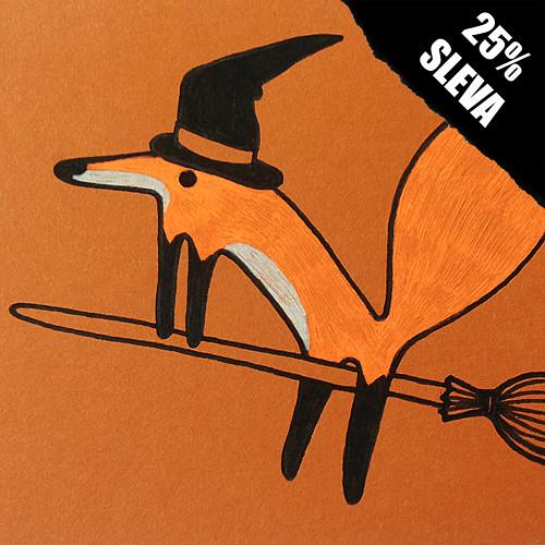 Přáníčko liška čarodějnice... SLEVA