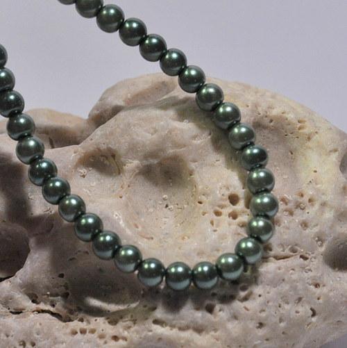 34. Voskové perle 4 mm/30ks/ olivová