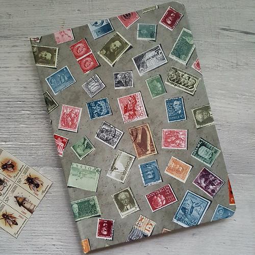 ručně šitý blok - miluju známky