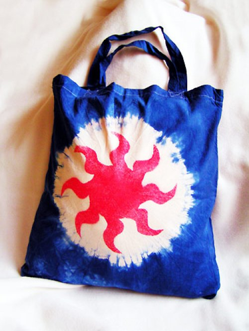 Tmavě modrá taška se sluncem - VÝPRODEJ