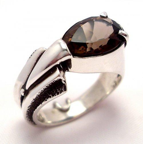 Prsten «Pero» - Ag 925/1000, přírodní záhněda