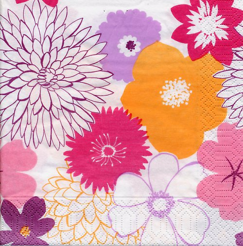 Ubrousek s barevnými květy