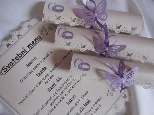 Svatební menu-champagne lila dle přání