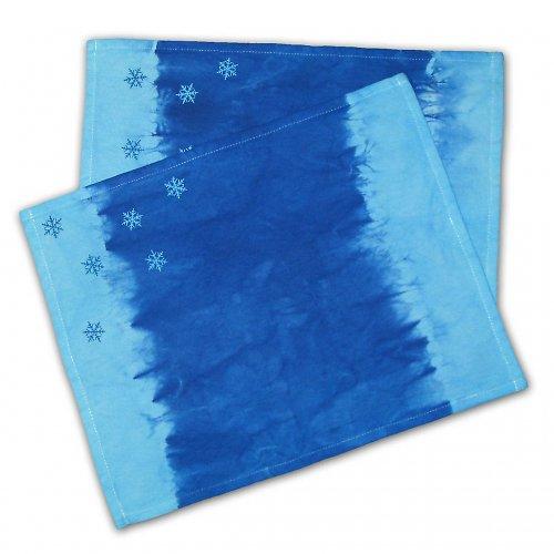 Modré zimní prostírání 2 ks
