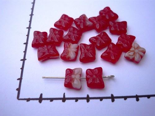 Motýlek červený+červenobílý melír, 10 ks