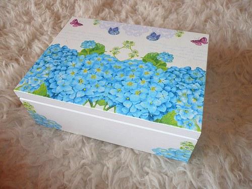 Krabička na čaj - 6 přihrádek - hortenzie