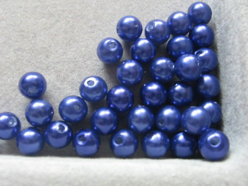Voskové korálky - tmavě modrá  5 mm / 30 ks