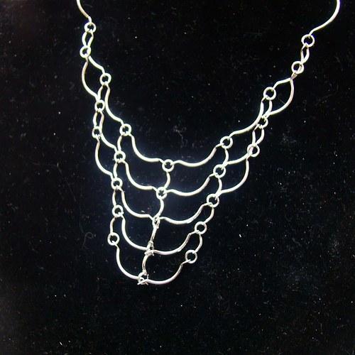 náhrdelník stříbrná síť