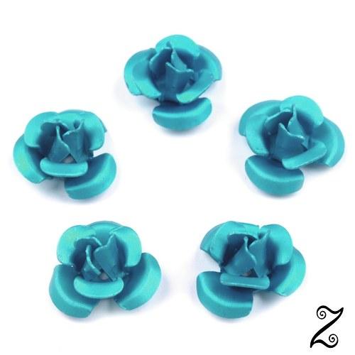 Kovová růžička, modrá světlá, 12 mm (10ks)