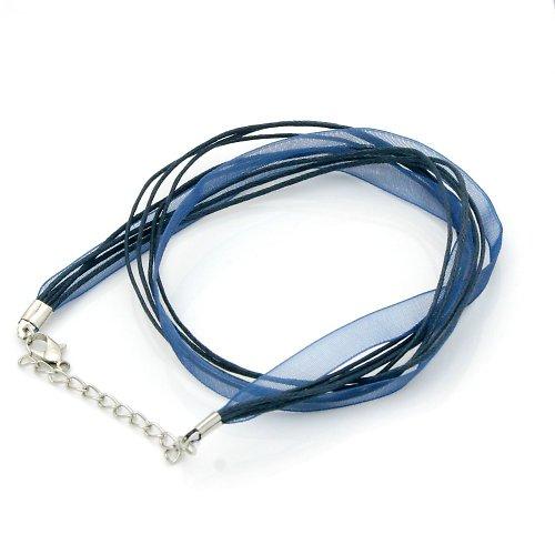 Organza a voskované šňůrky, tmavě modrá barva