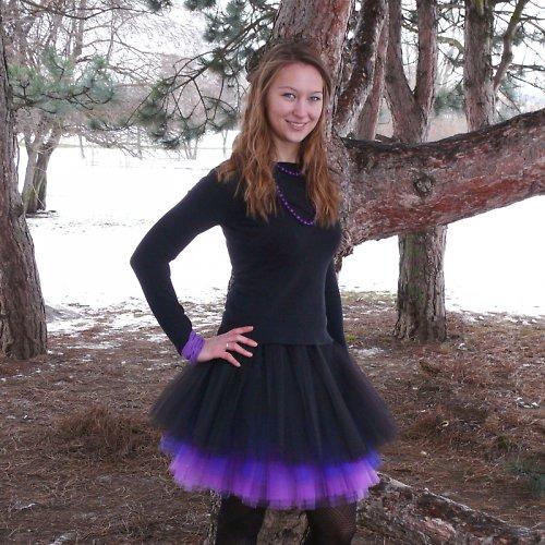 Černo-fialová tylová sukně