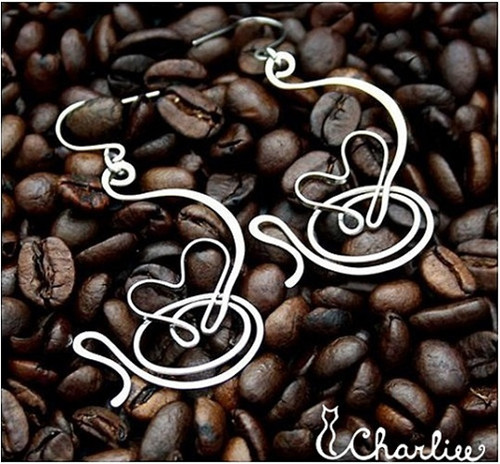 Náušnice - I LOVE COFFEE - 3D - tepané  chir. ocel