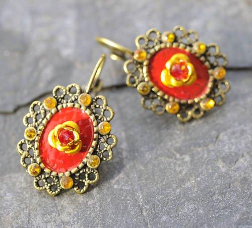 Zlaté naušnice-červený smalt žluté kamínky E0082R