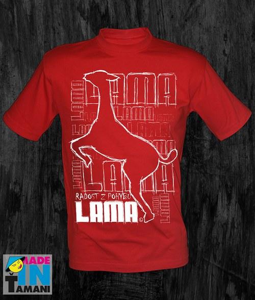 Pánské červené tričko s Lamou velký tisk 03