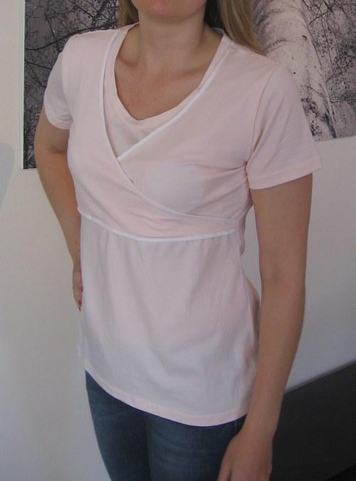 Diskrétní kojící tričko lososové - velikost XXL