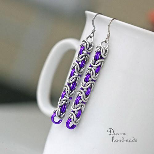Náušnice Miss Perfect - dlouhé fialové