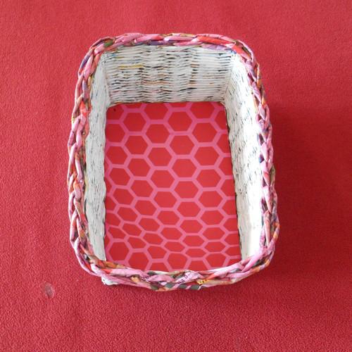 Košík hranatý - růžovobílý