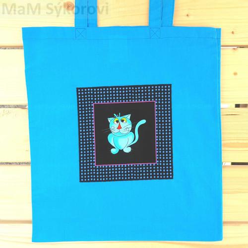 Bavlněná taška s aplikací tyrkysový kocourek
