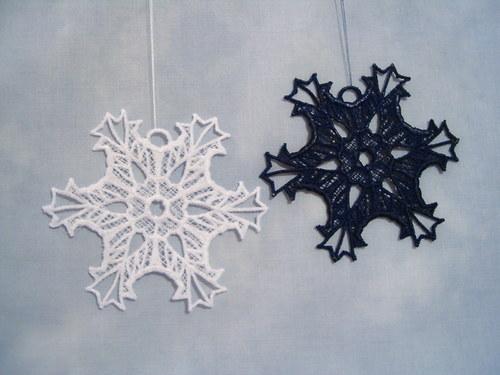 Vánoční ozdoba - sněhová vločka bílá A6273