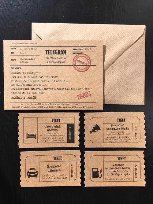 Svatební/narozeninové oznámení TELEGRAM