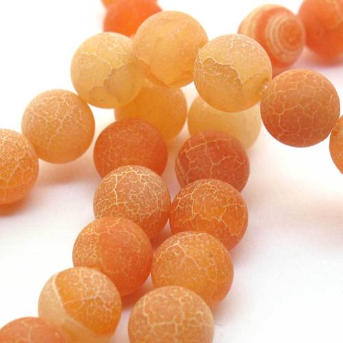 Korálky oranžový dračí achát kulaté 8mm (4 ks)