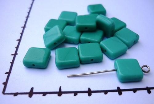 korálky čtverečky zelené 10x10mm, 20g