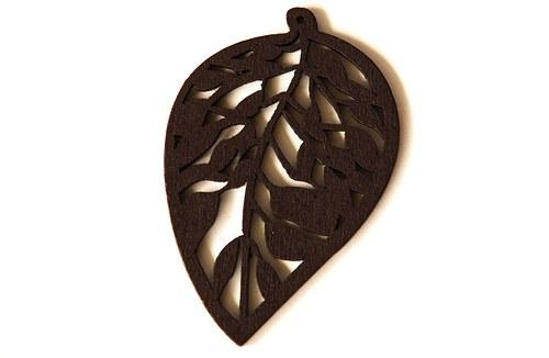 dřevěné lístečky- tmavě hnědé