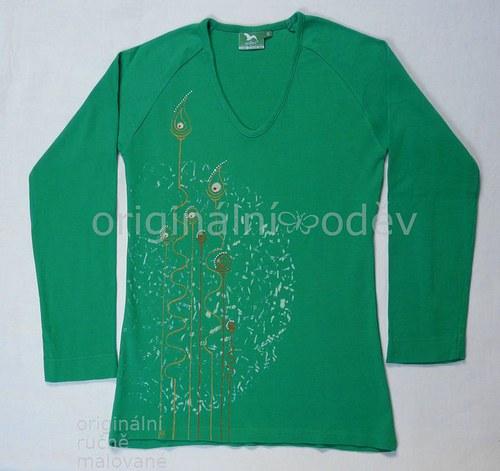 SLEVA: Malované tričko dámské - rostlinky - zelené