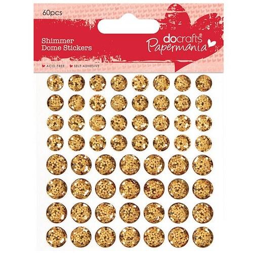 Třpytkaté vypouklé samolepicí tečky 60ks - zlaté