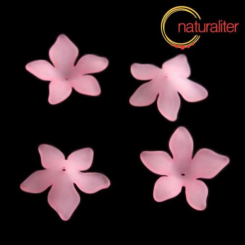 Květina akrylová - lilie 27mm růžová, 4ks