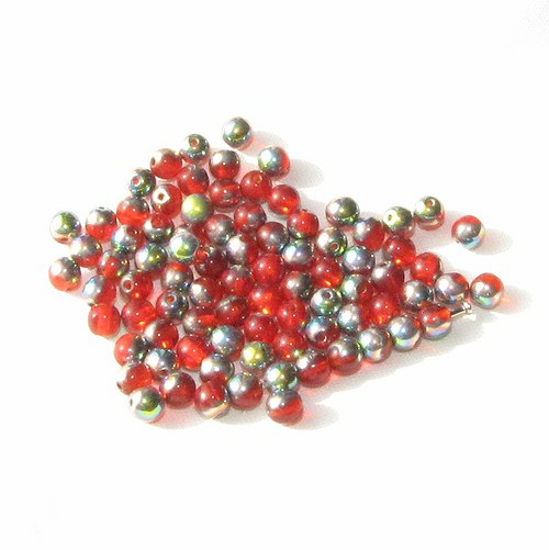 Červené korálky 4 mm, 100 ks