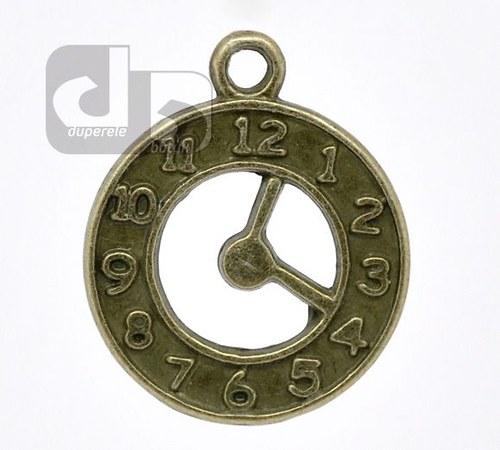 Bronzový přívěšek hodin, ciferníku 2 ks