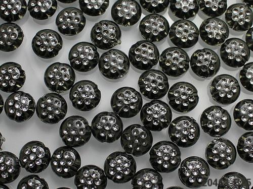 20461-B25 Korálky s puntíky ČERNÉ, bal. 20ks