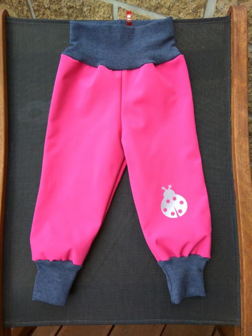 dětské zimní softshellové kalhoty - růžová