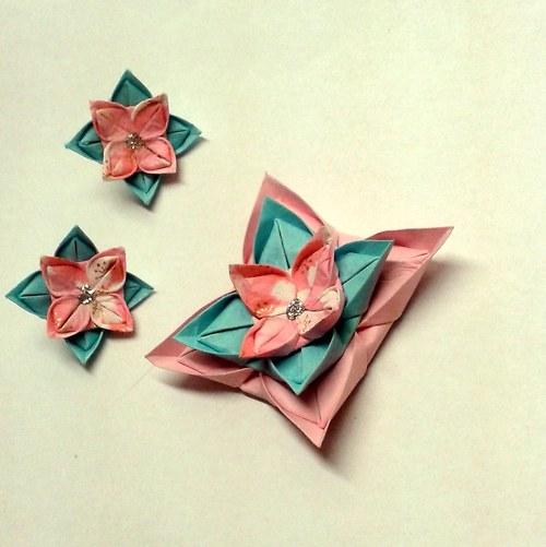 Tyrkysová zmrzlina - origami náušnice