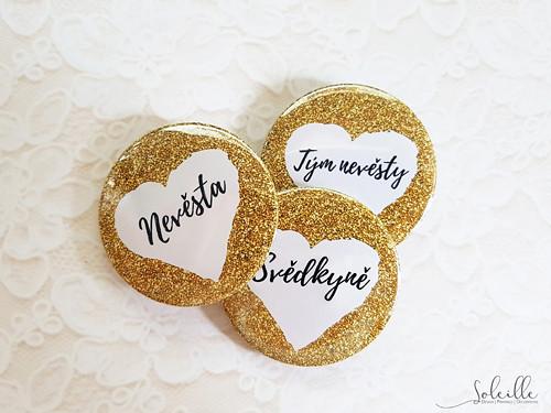 Svatební nebo rozlučková placka - zlatá III.