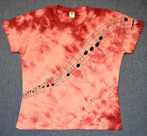 Růžovo-vínové dámské triko s notovou osnovou XXL
