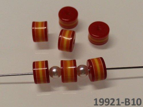 19921-B10 Korálky proužky válečky ČERVENÉ,bal.10ks