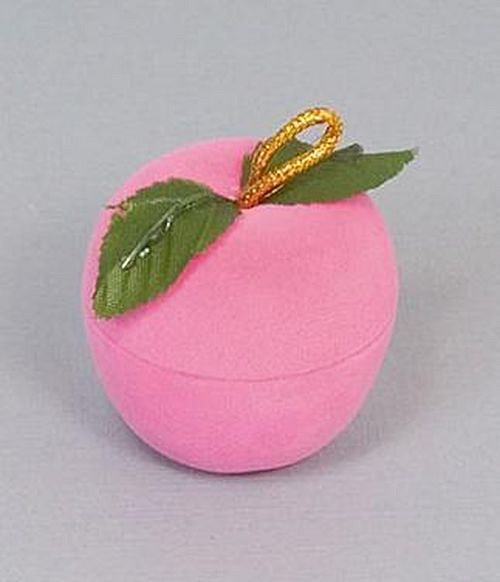 Sametová krabička na šperky - růžové jablíčko
